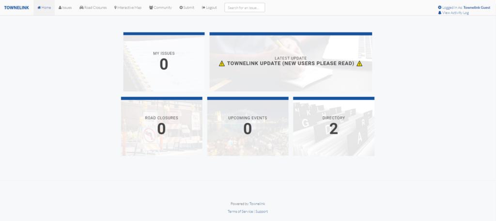 Townelink web app screenshot